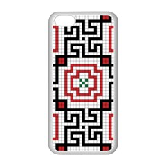 Vintage Style Seamless Black, White And Red Tile Pattern Wallpaper Background Apple iPhone 5C Seamless Case (White)