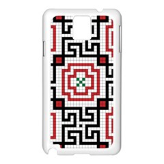 Vintage Style Seamless Black, White And Red Tile Pattern Wallpaper Background Samsung Galaxy Note 3 N9005 Case (White)