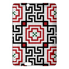 Vintage Style Seamless Black, White And Red Tile Pattern Wallpaper Background Kindle Fire HDX Hardshell Case