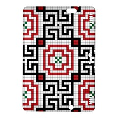 Vintage Style Seamless Black, White And Red Tile Pattern Wallpaper Background Kindle Fire HDX 8.9  Hardshell Case