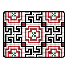 Vintage Style Seamless Black, White And Red Tile Pattern Wallpaper Background Double Sided Fleece Blanket (Small)