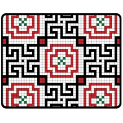 Vintage Style Seamless Black, White And Red Tile Pattern Wallpaper Background Double Sided Fleece Blanket (Medium)