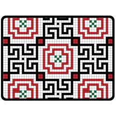 Vintage Style Seamless Black, White And Red Tile Pattern Wallpaper Background Double Sided Fleece Blanket (Large)