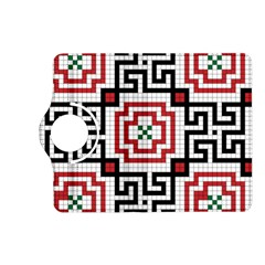 Vintage Style Seamless Black, White And Red Tile Pattern Wallpaper Background Kindle Fire HD (2013) Flip 360 Case