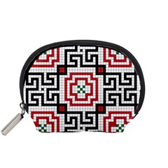 Vintage Style Seamless Black, White And Red Tile Pattern Wallpaper Background Accessory Pouches (Small)