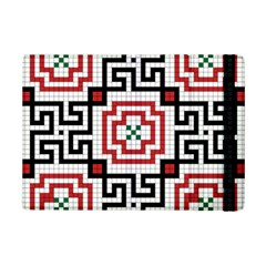 Vintage Style Seamless Black, White And Red Tile Pattern Wallpaper Background iPad Mini 2 Flip Cases