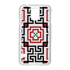 Vintage Style Seamless Black, White And Red Tile Pattern Wallpaper Background Samsung Galaxy S5 Case (White)