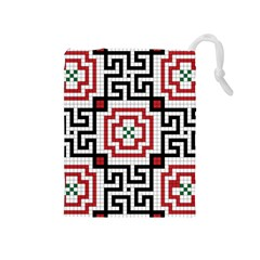 Vintage Style Seamless Black, White And Red Tile Pattern Wallpaper Background Drawstring Pouches (Medium)