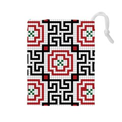 Vintage Style Seamless Black, White And Red Tile Pattern Wallpaper Background Drawstring Pouches (large)