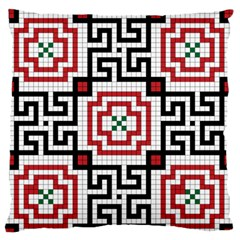 Vintage Style Seamless Black, White And Red Tile Pattern Wallpaper Background Large Flano Cushion Case (Two Sides)