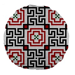 Vintage Style Seamless Black, White And Red Tile Pattern Wallpaper Background Large 18  Premium Flano Round Cushions