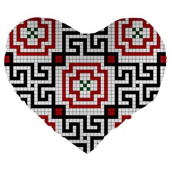 Vintage Style Seamless Black, White And Red Tile Pattern Wallpaper Background Large 19  Premium Flano Heart Shape Cushions