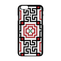 Vintage Style Seamless Black, White And Red Tile Pattern Wallpaper Background Apple iPhone 6/6S Black Enamel Case