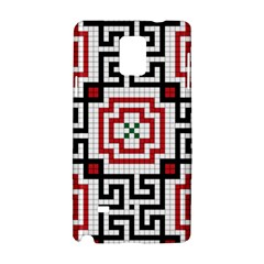 Vintage Style Seamless Black, White And Red Tile Pattern Wallpaper Background Samsung Galaxy Note 4 Hardshell Case