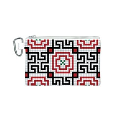Vintage Style Seamless Black, White And Red Tile Pattern Wallpaper Background Canvas Cosmetic Bag (s)