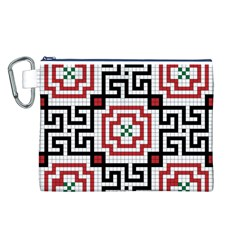 Vintage Style Seamless Black, White And Red Tile Pattern Wallpaper Background Canvas Cosmetic Bag (l)