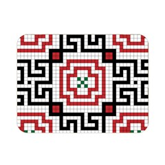 Vintage Style Seamless Black, White And Red Tile Pattern Wallpaper Background Double Sided Flano Blanket (Mini)