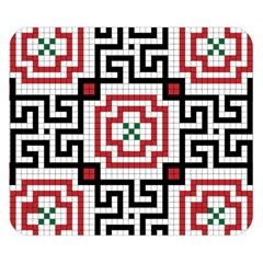 Vintage Style Seamless Black, White And Red Tile Pattern Wallpaper Background Double Sided Flano Blanket (Small)
