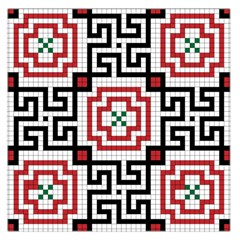 Vintage Style Seamless Black, White And Red Tile Pattern Wallpaper Background Large Satin Scarf (Square)