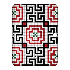 Vintage Style Seamless Black, White And Red Tile Pattern Wallpaper Background Samsung Galaxy Tab 4 (10 1 ) Hardshell Case