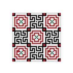 Vintage Style Seamless Black, White And Red Tile Pattern Wallpaper Background Satin Bandana Scarf