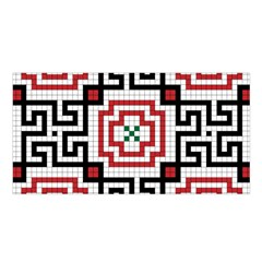 Vintage Style Seamless Black, White And Red Tile Pattern Wallpaper Background Satin Shawl