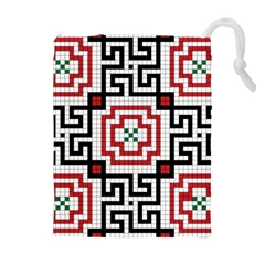 Vintage Style Seamless Black, White And Red Tile Pattern Wallpaper Background Drawstring Pouches (extra Large)