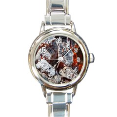 Wooden Hot Ashes Pattern Round Italian Charm Watch
