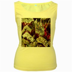 Wooden Hot Ashes Pattern Women s Yellow Tank Top