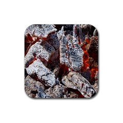 Wooden Hot Ashes Pattern Rubber Square Coaster (4 Pack)