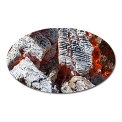 Wooden Hot Ashes Pattern Oval Magnet
