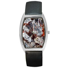 Wooden Hot Ashes Pattern Barrel Style Metal Watch