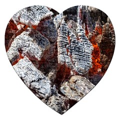 Wooden Hot Ashes Pattern Jigsaw Puzzle (Heart)