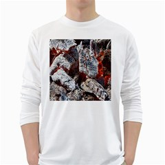 Wooden Hot Ashes Pattern White Long Sleeve T-Shirts