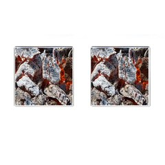 Wooden Hot Ashes Pattern Cufflinks (square)