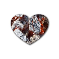 Wooden Hot Ashes Pattern Rubber Coaster (heart)
