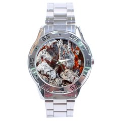 Wooden Hot Ashes Pattern Stainless Steel Analogue Watch