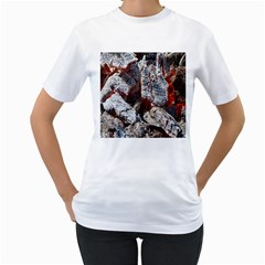 Wooden Hot Ashes Pattern Women s T Shirt (white)