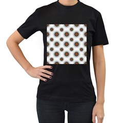 Pearly Pattern Half Tone Background Women s T Shirt (black) (two Sided)