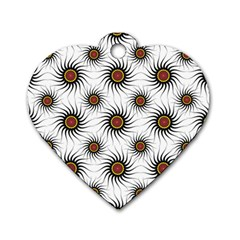 Pearly Pattern Half Tone Background Dog Tag Heart (one Side)