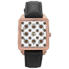 Pearly Pattern Half Tone Background Rose Gold Leather Watch