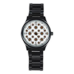Pearly Pattern Half Tone Background Stainless Steel Round Watch