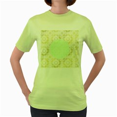 Seamless Abstract Background Pattern Women s Green T-Shirt
