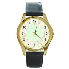 Seamless Abstract Background Pattern Round Gold Metal Watch