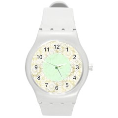Seamless Abstract Background Pattern Round Plastic Sport Watch (M)