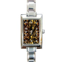 Loral Vintage Pattern Background Rectangle Italian Charm Watch