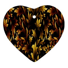 Loral Vintage Pattern Background Heart Ornament (two Sides)