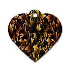 Loral Vintage Pattern Background Dog Tag Heart (Two Sides)
