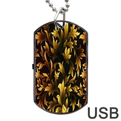 Loral Vintage Pattern Background Dog Tag USB Flash (Two Sides)
