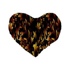 Loral Vintage Pattern Background Standard 16  Premium Heart Shape Cushions